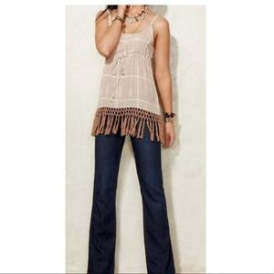 Cabi Cabana Tan Fringe Cover Up Tank Top